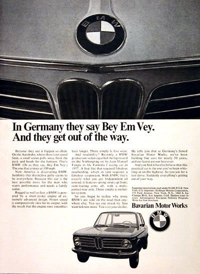 1969 BMW Coupe original vintage ad. In Germany they say Bey Em Vey. And they get out of the way. Prices start at under $3,000 P.O.E. New York.