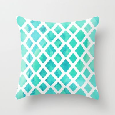 This evokes that tropical water color that I would love to capture in our bedroom!  |  Watercolor Mint Diamonds Throw Pillow by Micklyn - $20.00