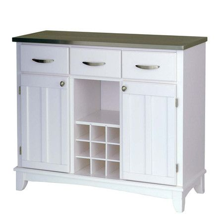Hardwood Buffet In White With A Stainless Steel Top 9 Bottle Wine Rack