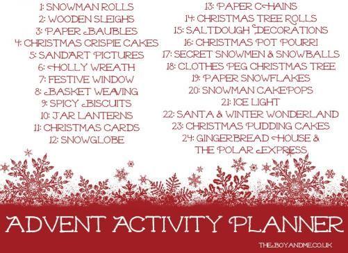 advent activity calendar from: http://www.theboyandme.co.uk/2012/11/30/advent-activity-calendar/