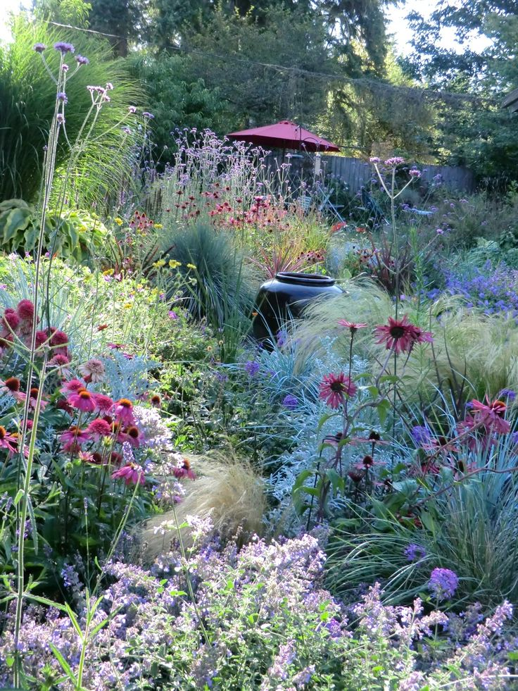 Perennial garden grasses, prairie style Would look great on a slope or hill #Hillsidegardening