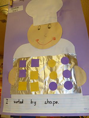 Cute for shape sorting...you could divide the cookie sheet into more sectiosn and they could sort cookies in all the different shapes