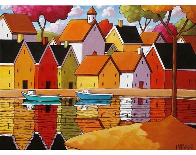 11x14 Town Harbor Folk Art Print, Water Reflections by Cathy Horvath, Scenic Waterside Landscape Coastal Village, Acid Free Large Artwork