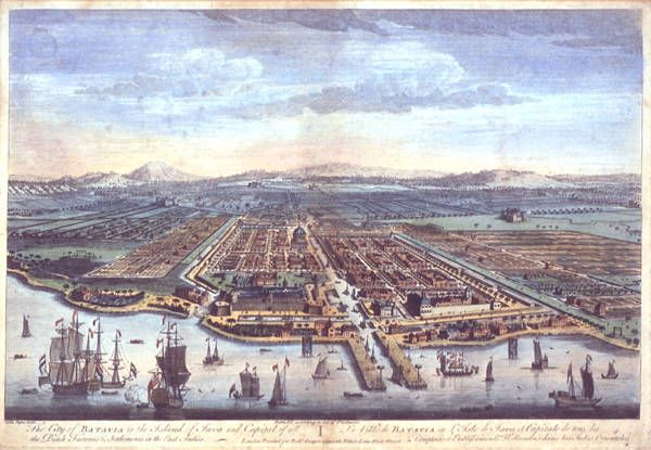 Batavia (today's Jakarta on the island of Java, Indonesia) was the headquarters of the Dutch East India Company (Vereenigde Oostindie Compagnie in Dutch, or VOC). Founded  in 1619 by Jan Pieterszoon Coen, the company's governor general of the Moluccas, the city featured magnificent homes of wealthy Dutch merchants as well as pestilential canals, which were the scourge of many visiting sailors whose ships stopped for supplies and repairs on their way home to Europe.