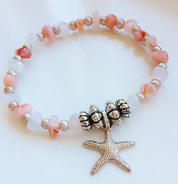 Coral and White Starfish Stacking Bracelet by ElizaSophieDesigns
