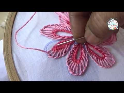 Hand Embroidery Flowers Design Buttonhole & Net Stitch by MaaCreative – YouTube – Angel234