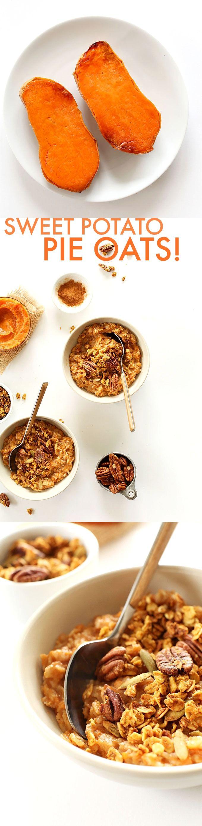 7 INGREDIENT Creamy, healthy sweet potato PIE Oats! The perfect fall breakfast #vegan #glutenfree