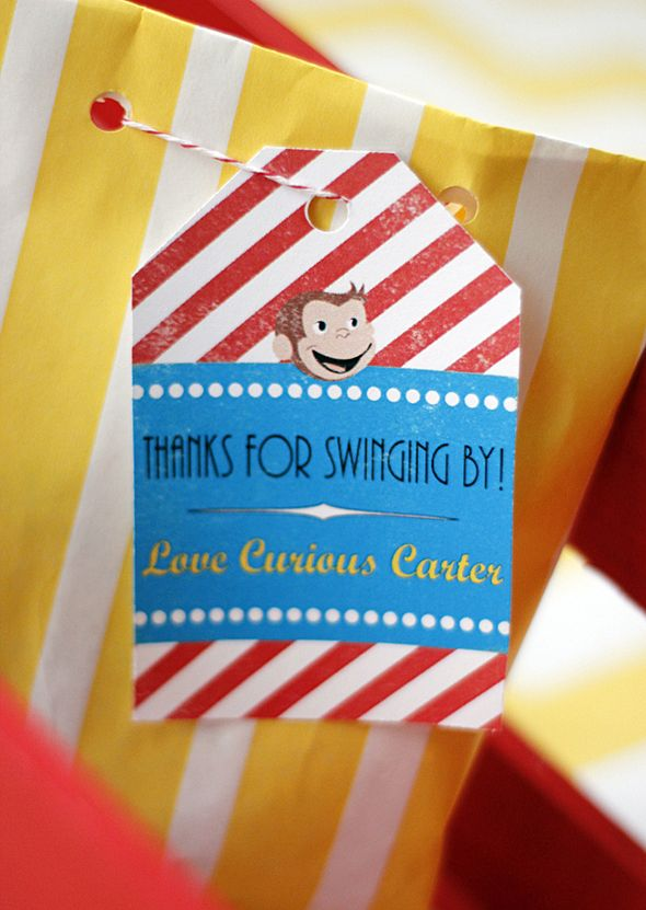 Project Nursery - Curious George Favor Bag Tags
