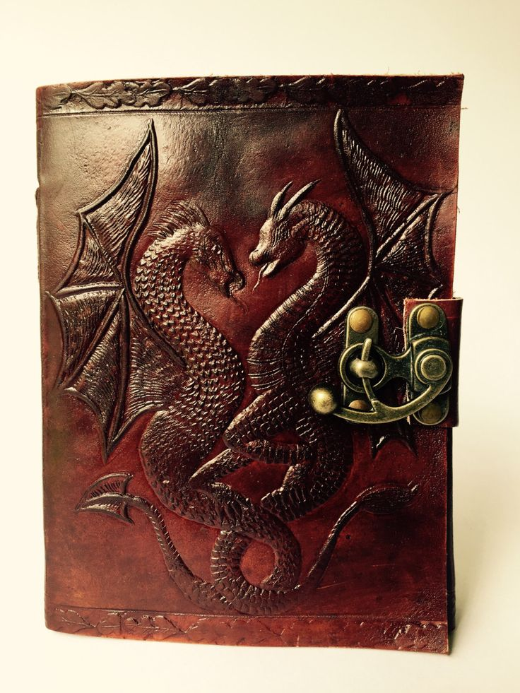 Twin Dragons Leather Journal by EldariaRose on Etsy