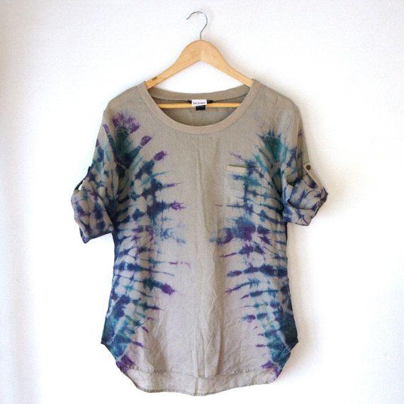 Hand Dyed Shibori Linen Long Sleeved Top  Small by SilkShaman, $55.00