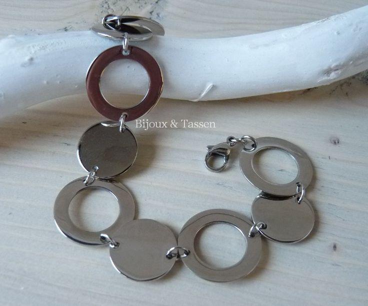 RVS armband ronde schakel