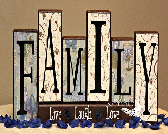 Family Wood Blocks Decor With Live Laugh Love Saying Hepteam Primitive Craft Inspiration Pinterest Wooden And
