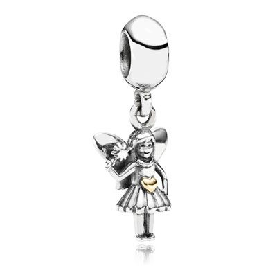 Fairy Tale - Lovely sterling silver fairy dangle charm with heart in 14k gold. $45 #PANDORA #PANDORAcharm