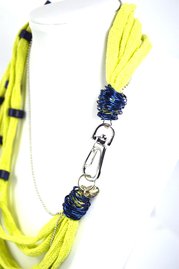 Short Necklaces : Green Lime Necklace Green lime cotton cord embellished with handmade blue ceramic beads, wire and stainless steel ball chains. Detail: the metal clasp. Total length approx. 55 cm. Comes in a gift box.