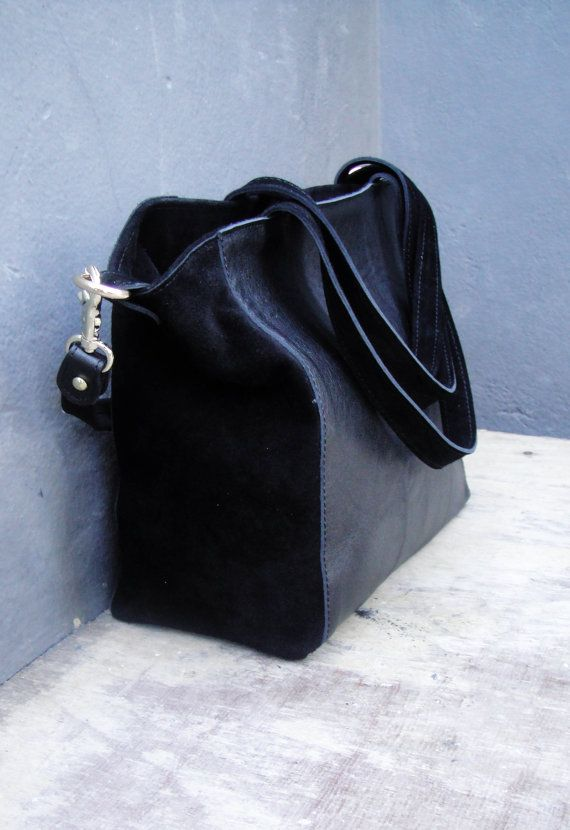 Leather handcrafted satchel in black by byCACHE on Etsy