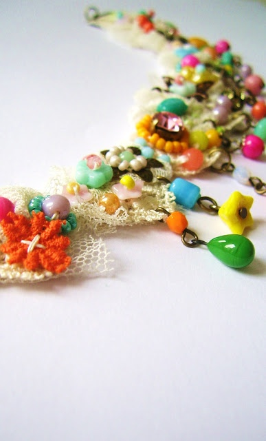 embroidered necklace made with lace and colourful beads-sparkling and a little bohemian-by silly old suitcase