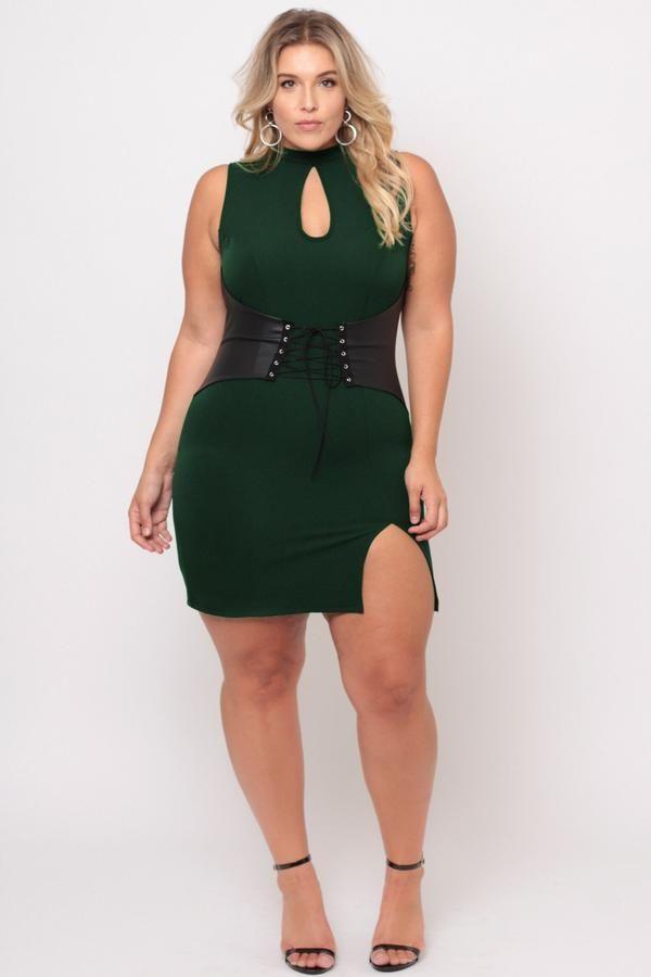 Plus Size Waist Snatcher Bodycon Dress - Hunter Green