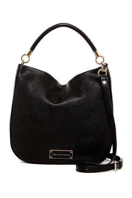 "2cf587e9b8f Marc Jacobs Hobo Leather Handbag Black NWT $438 MSRP (Style ""Take Your Marc"")  