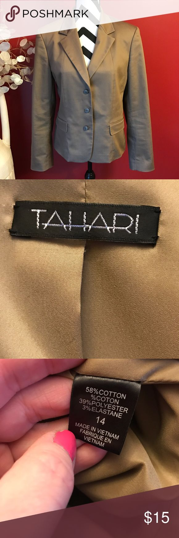 Tahari kaki blazer Worn once in excellent condition no flaws just got back from dry cleaners. Underarm measurements are 19' and length is 22' Tahari Jackets & Coats Blazers