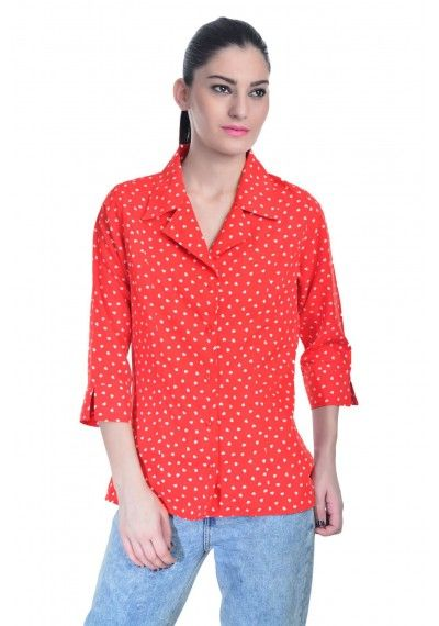 Red printed office shirt
