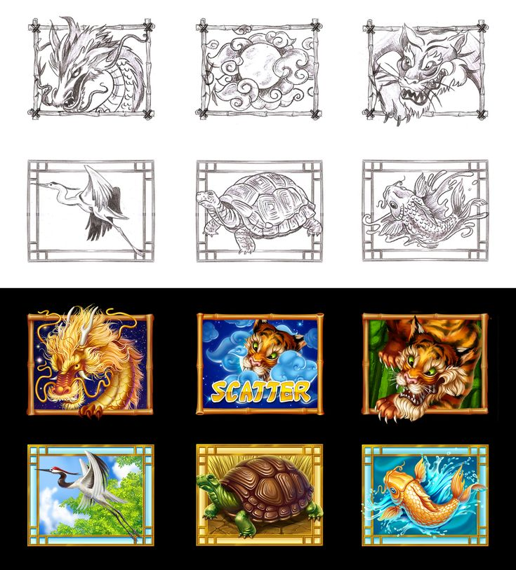 """Graphic design of symbols for the game slot-machine """"Lung fu"""" http://slotopaint.com/"""