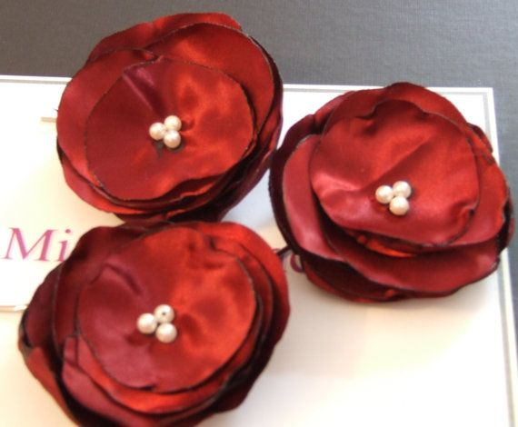 burgundy/Maroon/Wine Red Hair Flowers  3 by MissEleganceHair, $9.99
