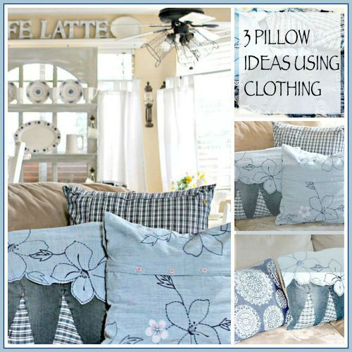 3 Pillow Ideas Using  Clothing and A Dose of DIY Blog Hop :http://www.onemoretimeevents.com/2015/07/3-pillow-ideas-using-clothing-and-a-dose-of-diy-blog-hop.html