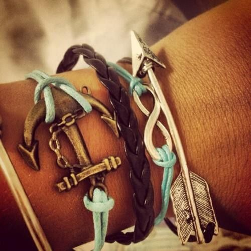 anchor & arrow bracelet: Arm Candy, Anchors Bracelets, Arrows, Style, Hunger Games, Cute Bracelets, Jewelry, Summer Bracelets, Accessories