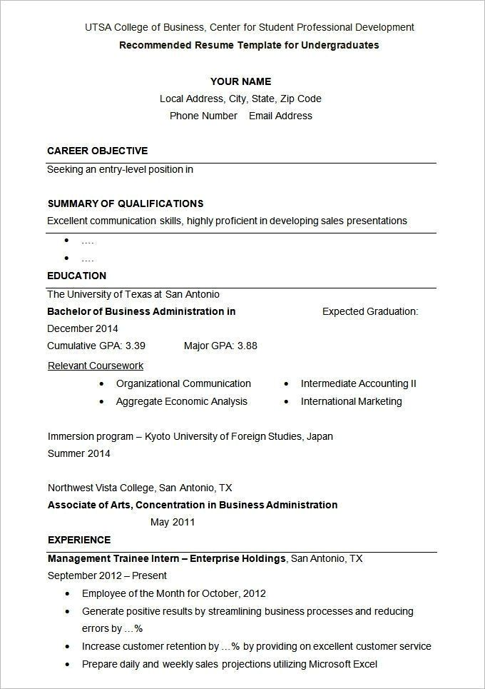 Pin by California Resume Formats on Resume Examples Student resume