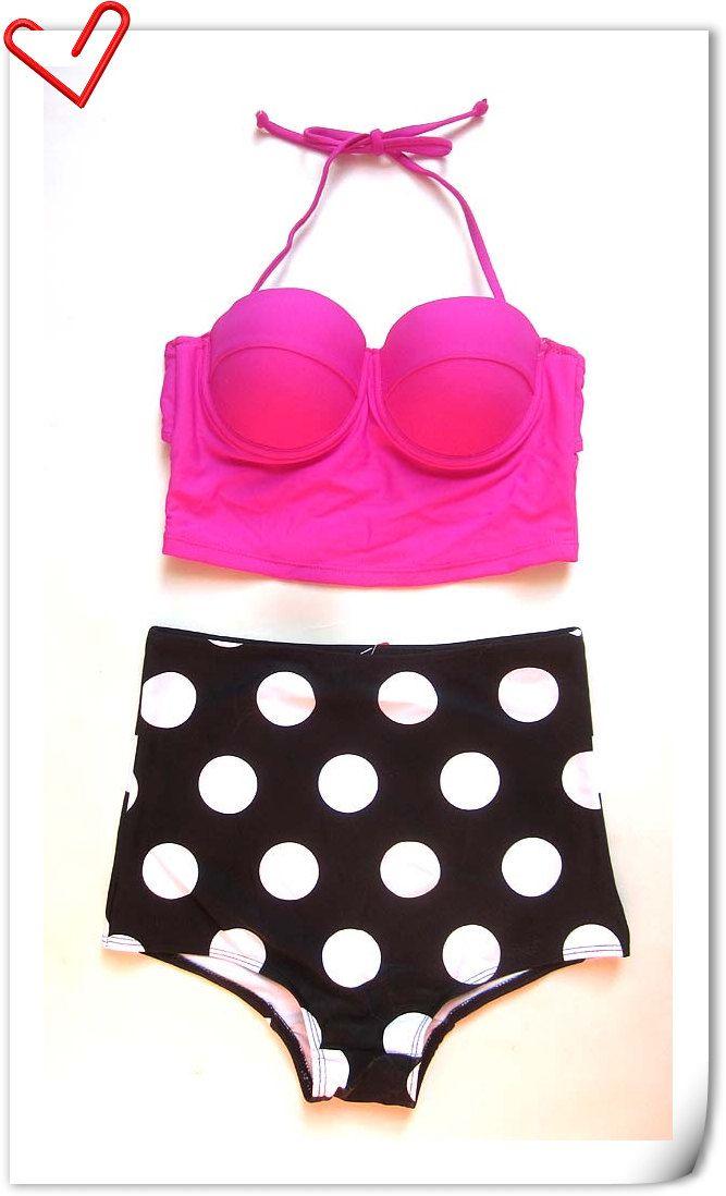 2014 new Vintage Pin Up High Waisted Hot Pink Top Black Polka Bottom Bikini Sets  Polka Dot brazilian bikini retro   swimsuit XL $21.99