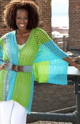 Speedy Multi-wear Poncho - Free Crochet Pattern-  I made this but mine wasn't as long as it looks in the picture.  Maybe it's because I didn't block it.