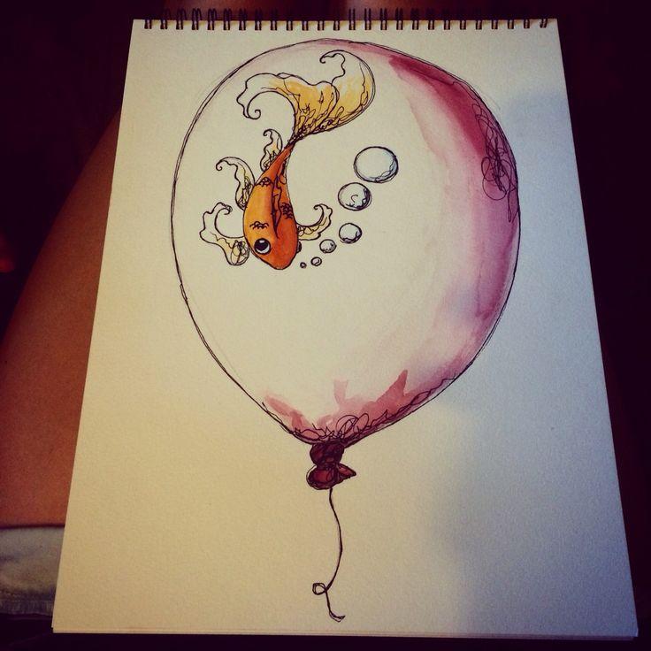 In a balloon. #watercolor #goldfish #balloon #art #ink