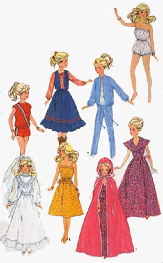 Barbie Wardrobe Simplicity 5356 OOP Vintage 80s Sewing Pattern Wedding Gown Romper Sundress + by sandritocat on Etsy