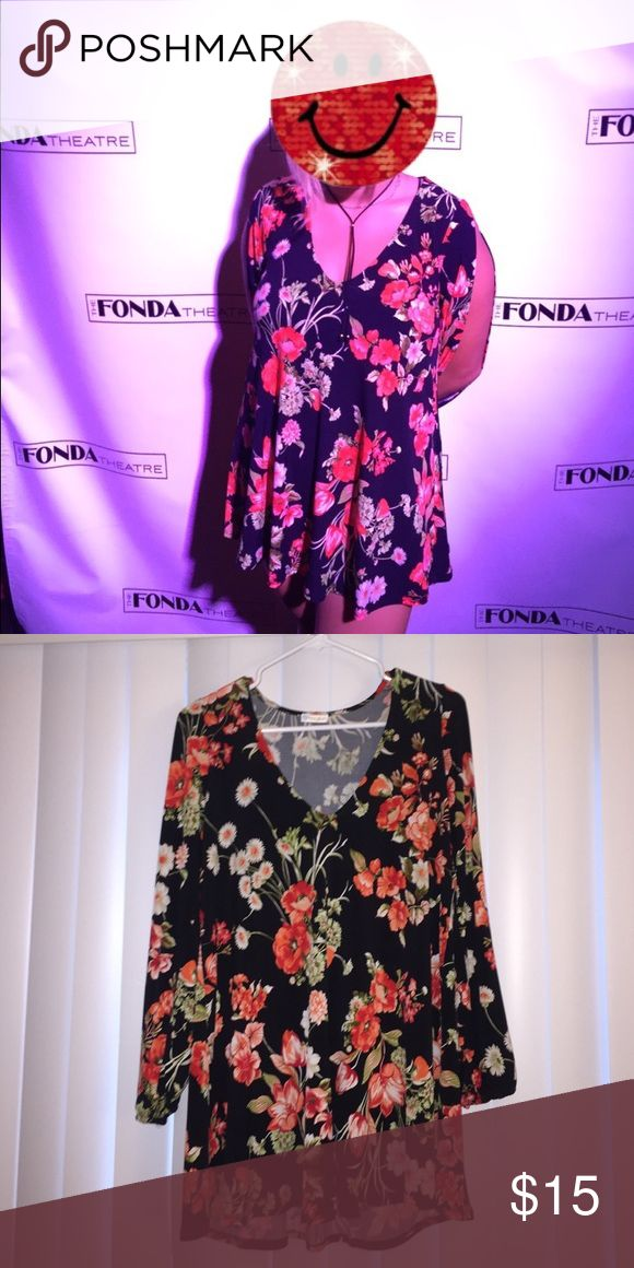Black and Floral Long Sleeve Flowy Dress A size small Worn less than 5 times, the arms are slit and deep V cut. NOT FROM UO Urban Outfitters Dresses Long Sleeve