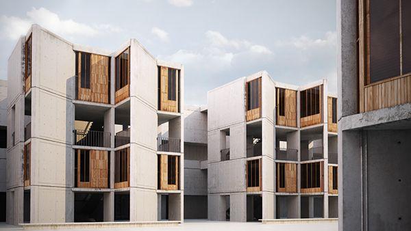 Vizarch of the famous architectural building Salk institute by Louis Kahn.