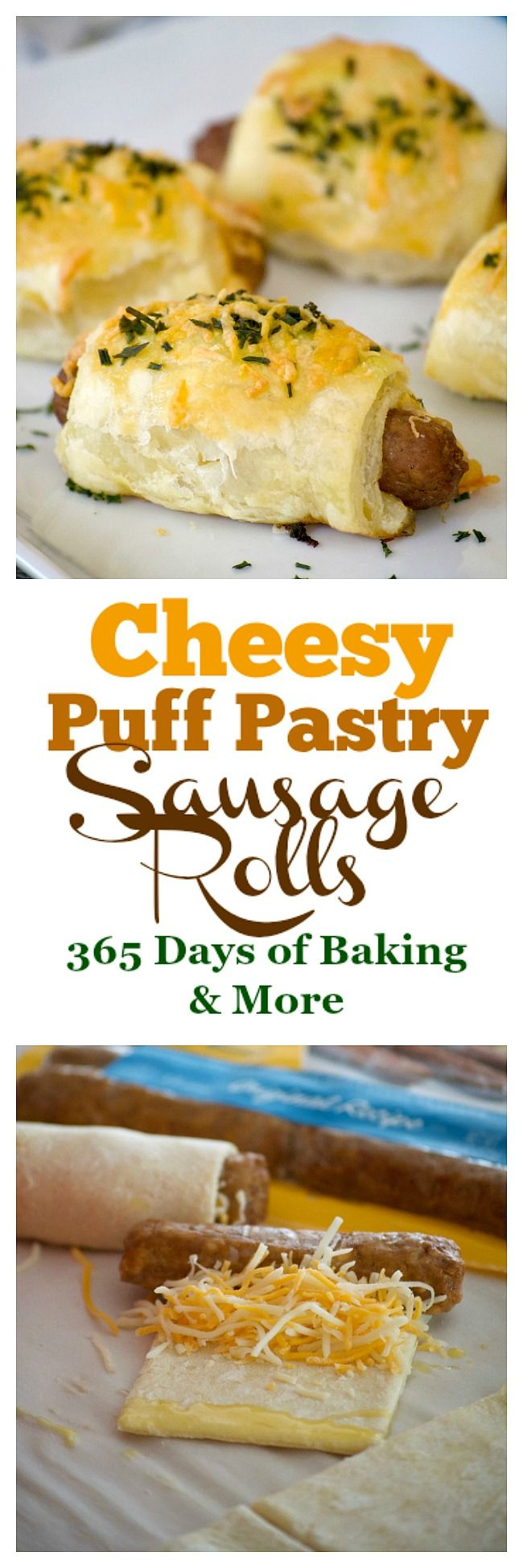 These Cheesy Puff Pastry Sausage Rolls are light and airy with delicious bites of cheese and @jvillesausage breakfast sausage links. They're an appetizing addition for any Easter brunch. #ad