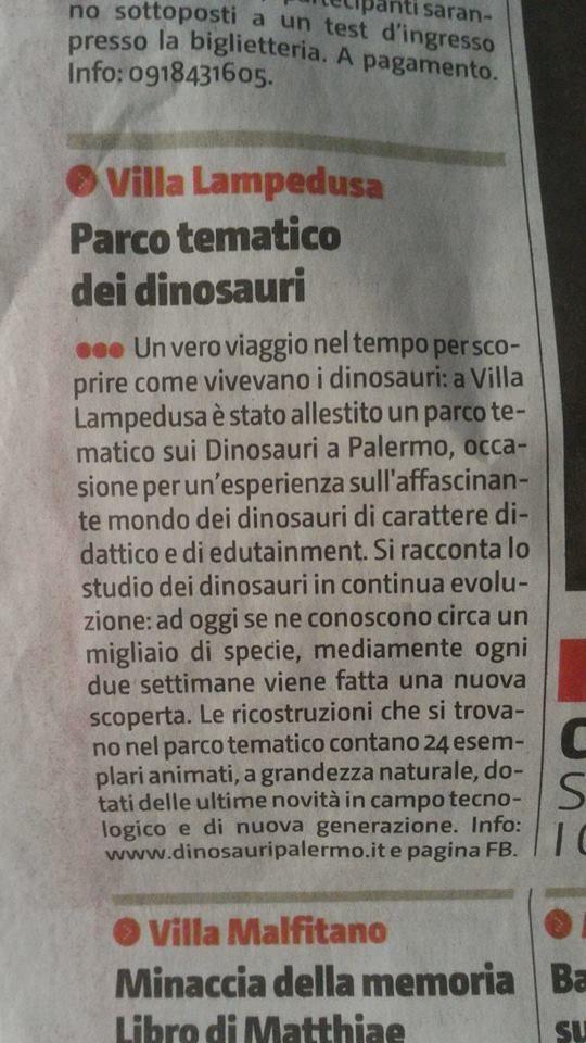 News: nella rubrica Vedere&Sentire del Giornale di Sicilia parlavano di Noi Dinosauri Animati, grazie. Vi aspettiamo a Villa Lampedusa a Palermo, in via dei Quartieri, 104.