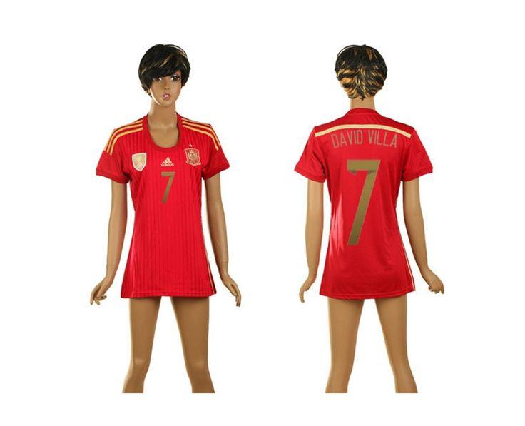 Spagna Maglie Calcio Mondiali 2014 Donna Casa NO.7 David Villa