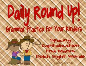 Daily Round Up {Spelling and Grammar Practice for Kindergarten}