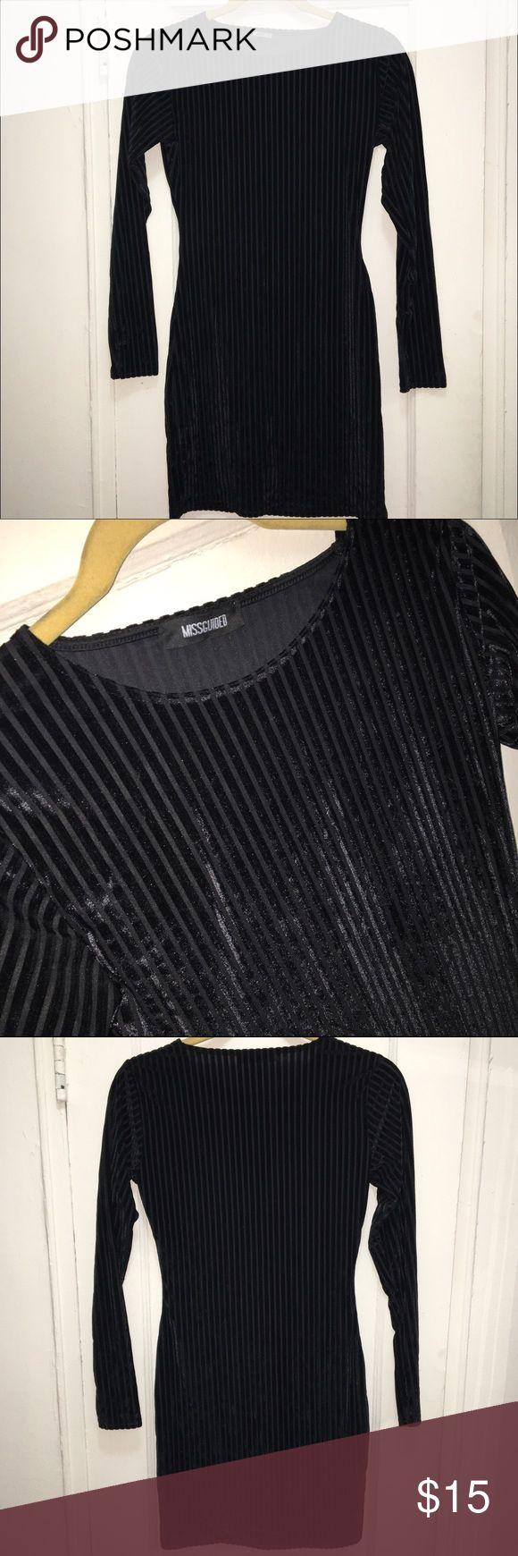 Missguided Velvet Striped Mini Dress Velvet black striped mini dress from Missguided. Worn once. Perfect for NYE or ladies night out! ✨ Missguided Dresses