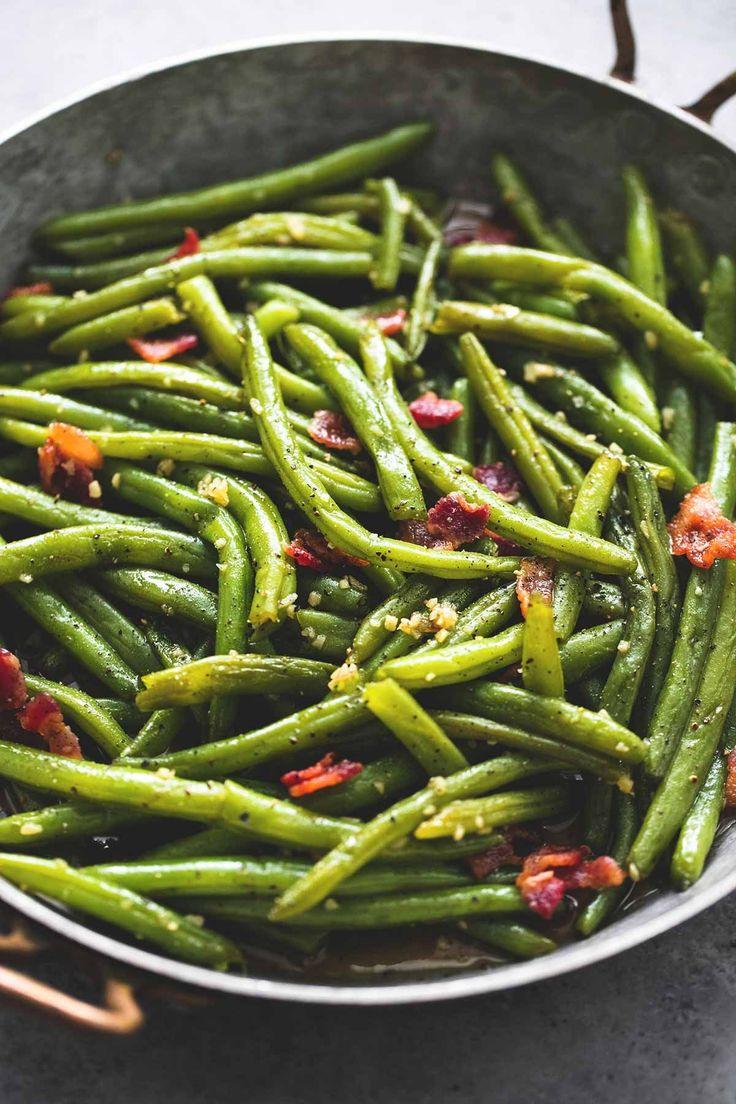 Brown Sugar Green Beans with Bacon | Dijon Mustard Garlic Cloves Minced (jar)| Sauté Skillet | lecremdelacrumb.com