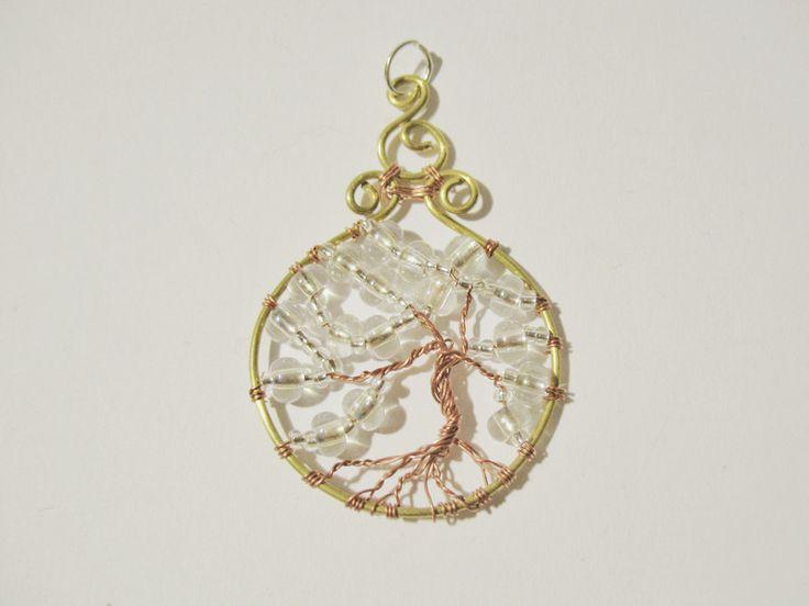 Schmuckanhänger - Anhänger Lebensbaum Draht mit Perlen - ein Designerstück von arjuna_crafts bei DaWanda