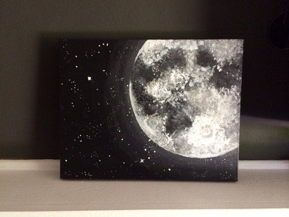 Moon and Stars Acrylic Painting 11×14 inches • Home Accents • Cosmic Home Decor • Black and white painting gray • Wall Decor • Ready to Ship