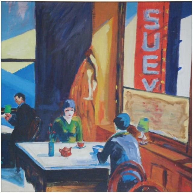 #cafe is inspired by #Edwardhopper. This work is #available as an #original or in various other forms. #Contact us @nadia_art_gallery for more #details and don't forget to follow.