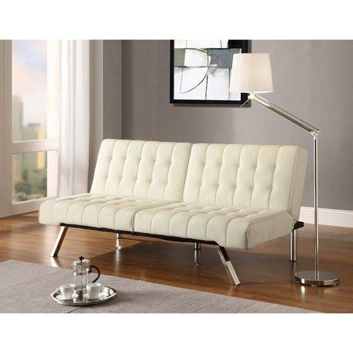 white futon sofa sleeper faux leather contemporary chrome legs lovese
