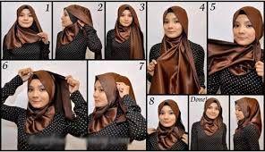 Hasil gambar untuk hijab pashmina satin untuk kebaya