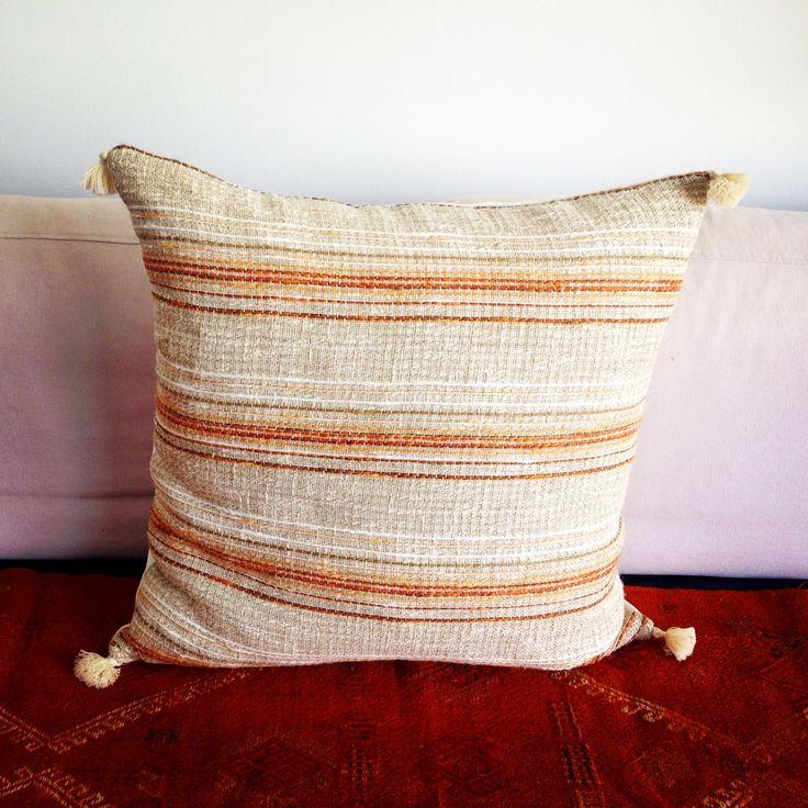 Vintage Yugoslavian large cushion with cotton tassels