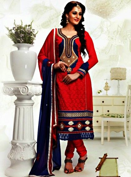 Shop Here http://www.silkmuseumsurat.in/salwar_kameez/red-color-faux-georgette-fabric-pakistani-suit Item #: 3919 Red Color Faux Georgette Fabric Pakistani Suit  Color : Red Fabric : Faux Georgette Occasion : Bridal, Casual, Festival, Party, Reception, Wedding Style : Pakistani Salwar Kameez Work : Embroidered, Patch Border