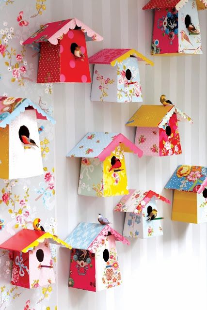 DIY Paper or Cardboard Birdhouse.  This would be super cute decor in my 8 month old daughter's room!