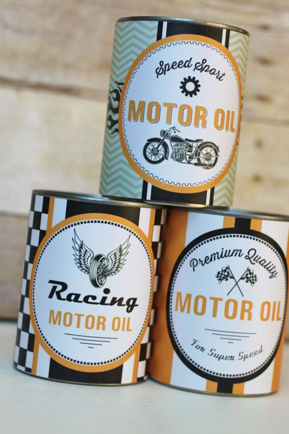 Motor Oil Can Wrappers Party Decoration Motorcycle by HHpaperCO